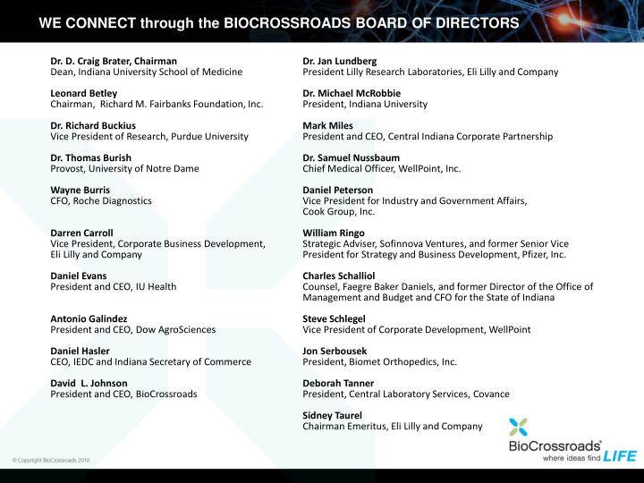 WE CONNECT through the BIOCROSSROADS BOARD OF DIRECTORS