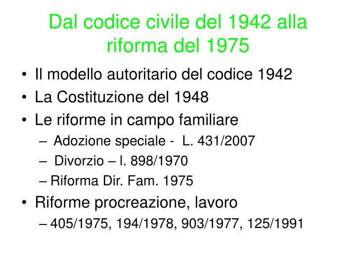 Dal codice civile del 1942 alla riforma del 1975