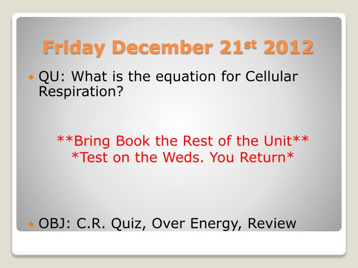 QU: What is the equation for Cellular Respiration?