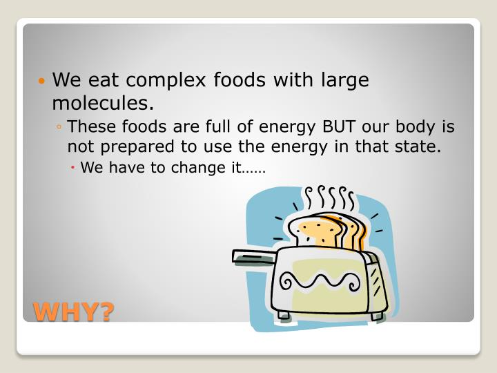 We eat complex foods with large molecules.