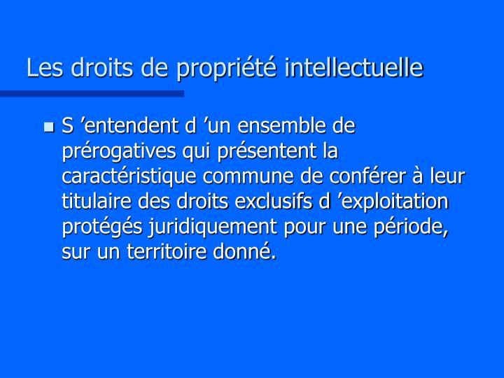 Les droits de propri t intellectuelle