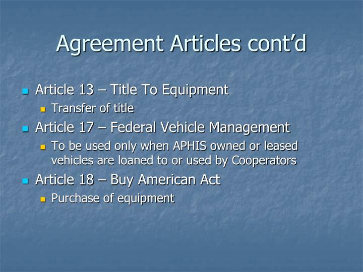 Agreement Articles