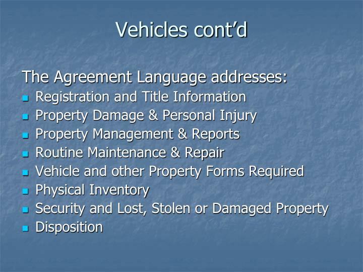 Vehicles cont'd
