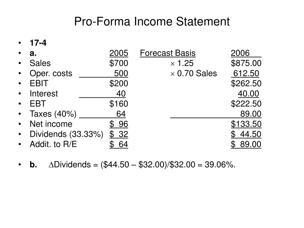 ppt pro forma income statement powerpoint presentation id 6239066