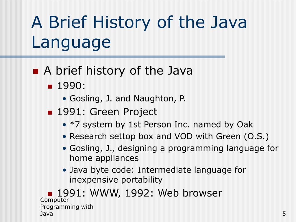PPT - Computer Programming with JAVA PowerPoint Presentation