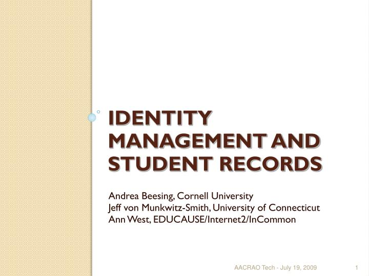 identity management and student records n.