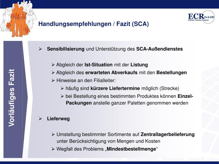 Handlungsempfehlungen / Fazit (SCA)