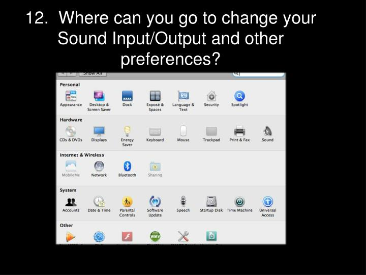 12.  Where can you go to change your Sound Input/Output and other preferences?
