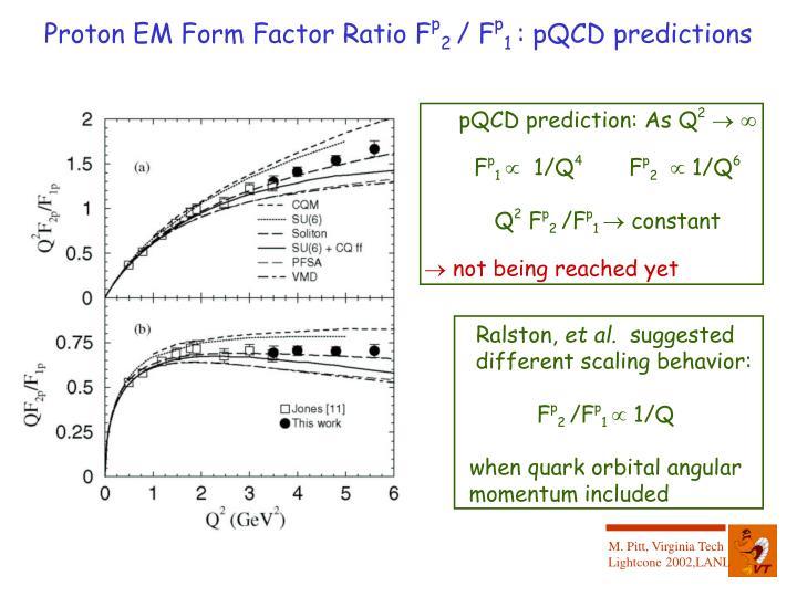 Proton EM Form Factor Ratio F
