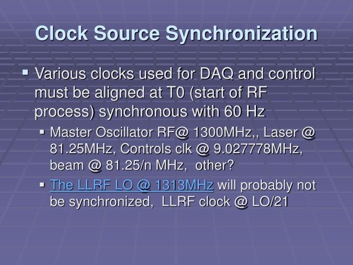 Clock Source Synchronization