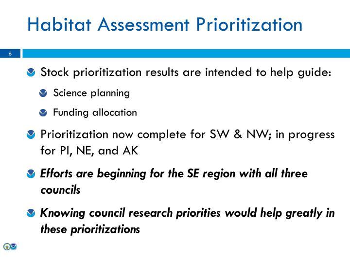Habitat Assessment Prioritization