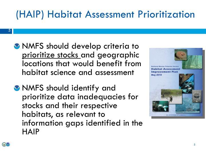 (HAIP) Habitat Assessment Prioritization