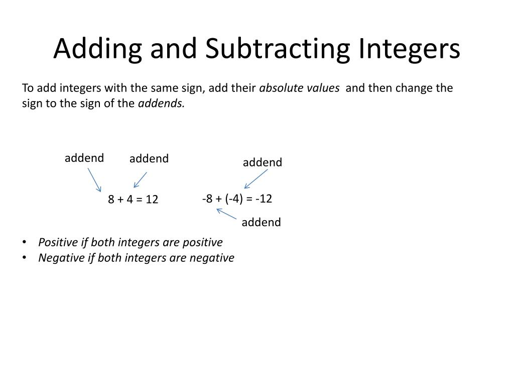 Ppt Adding And Subtracting Integers Powerpoint Presentation Free Download Id 6240167