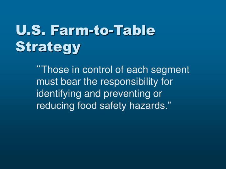 U s farm to table strategy