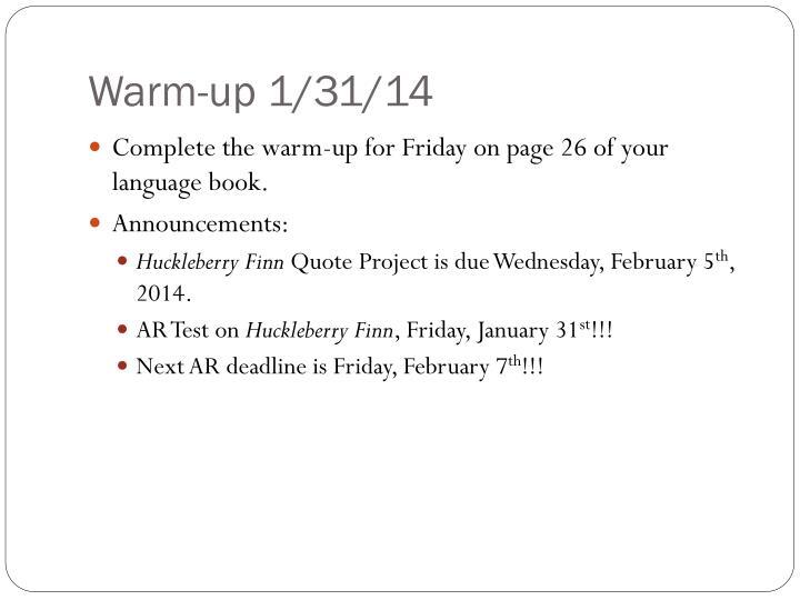 Warm-up 1/31/14