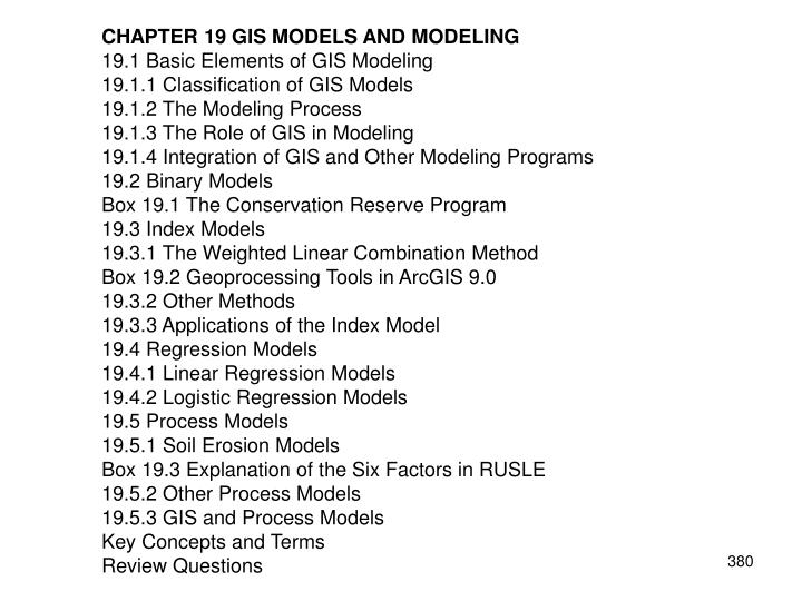 CHAPTER 19 GIS MODELS AND MODELING