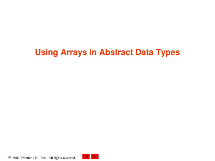 using arrays in abstract data types n.