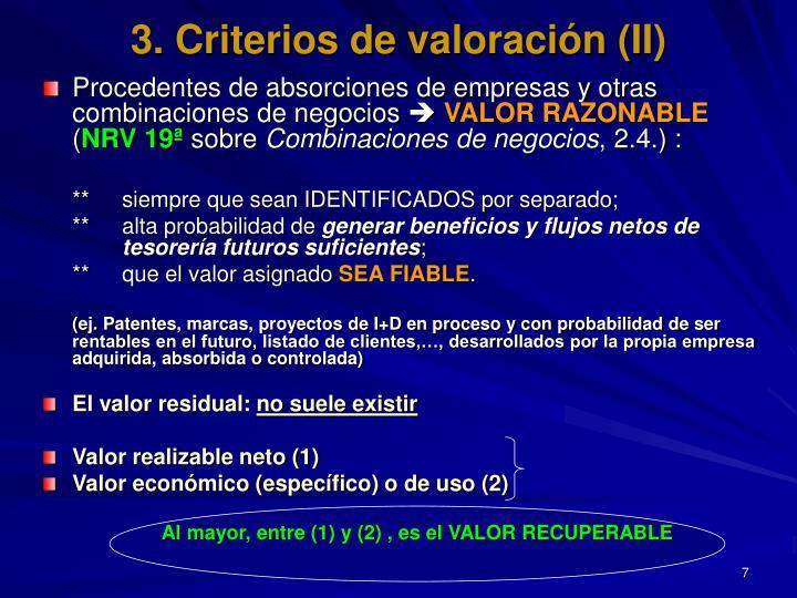 3. Criterios de valoración (II)