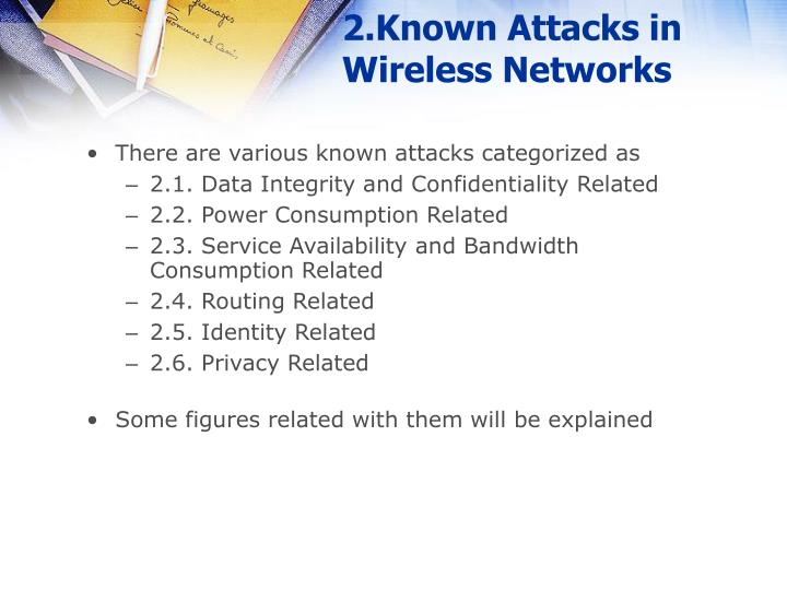 2 known attacks in wireless networks