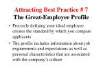 attracting best practice 7 the great employee profile