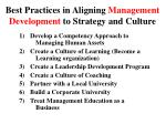 best practices in aligning management development to strategy and culture
