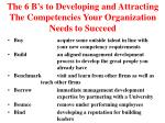 the 6 b s to developing and attracting the competencies your organization needs to succeed