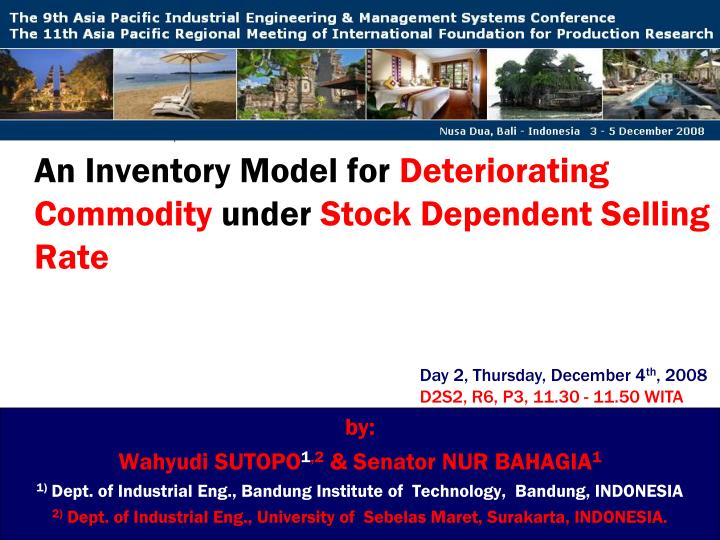 an inventory model for deteriorating commodity under stock dependent selling rate n.