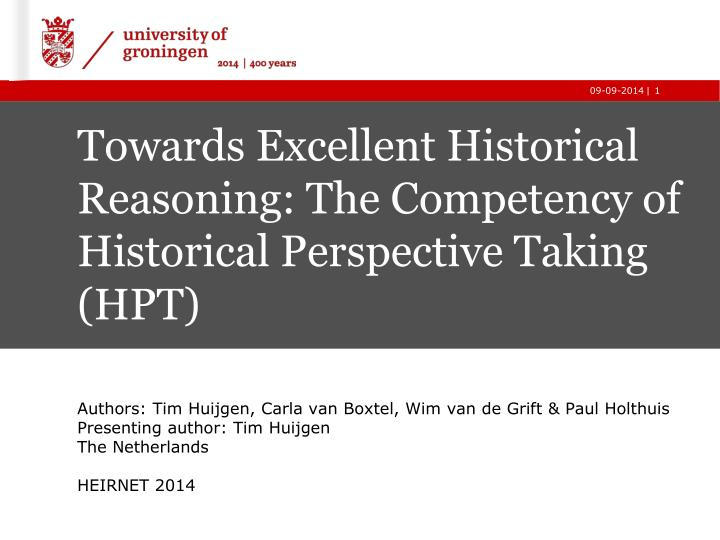 towards excellent historical r easoning the c ompetency of historical p erspective t aking hpt