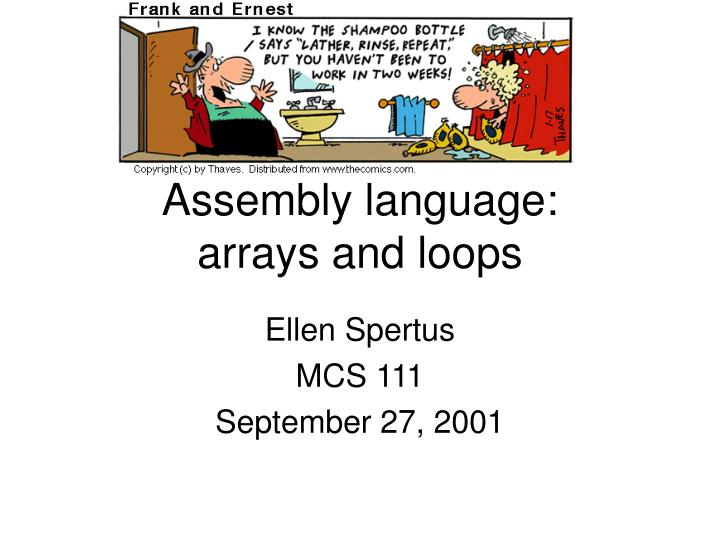 assembly language arrays and loops
