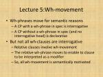 lecture 5 wh movement