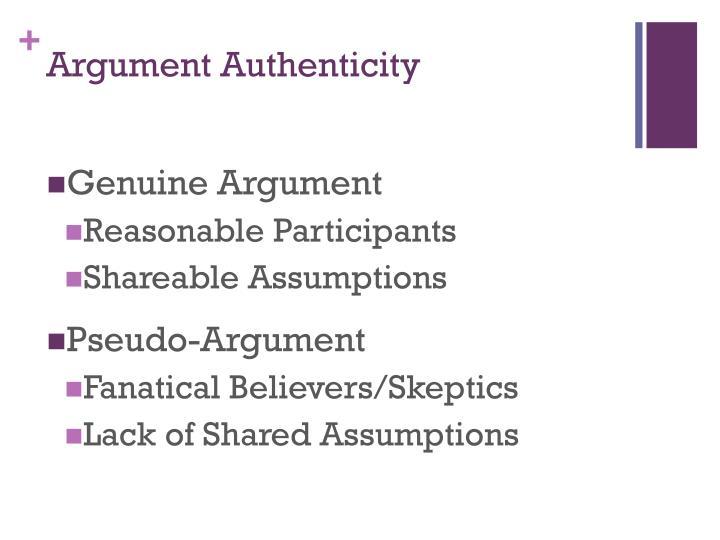 Argument Authenticity