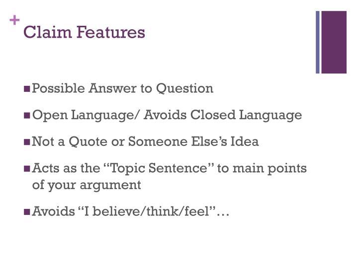 Claim Features