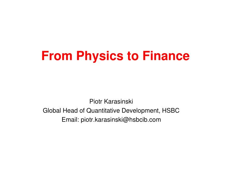 from physics to finance n.