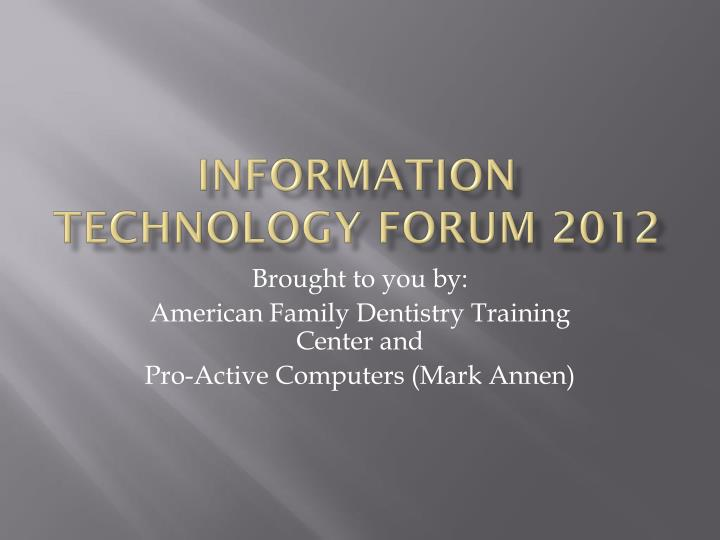 information technology forum 2012 n.