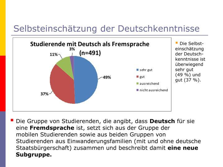 Selbsteinschätzung der Deutschkenntnisse
