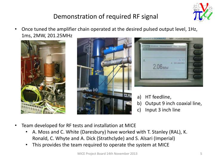 Once tuned the amplifier chain operated at the desired pulsed output level, 1Hz, 1ms, 2MW, 201.25MHz