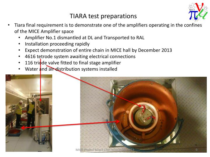 Tiara final requirement is to demonstrate one of the amplifiers operating in the confines of the MICE Amplifier space