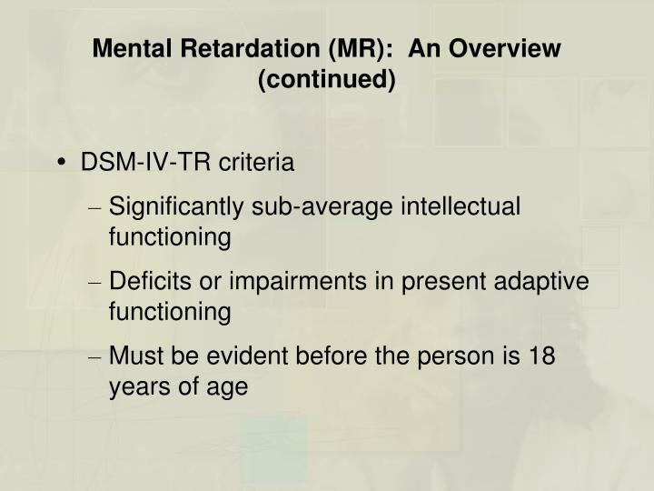 an overview of the three classifications of mental retardation Overview of icd-11 revision of mental disorders   f7 mental retardation  three basic types depending on their.