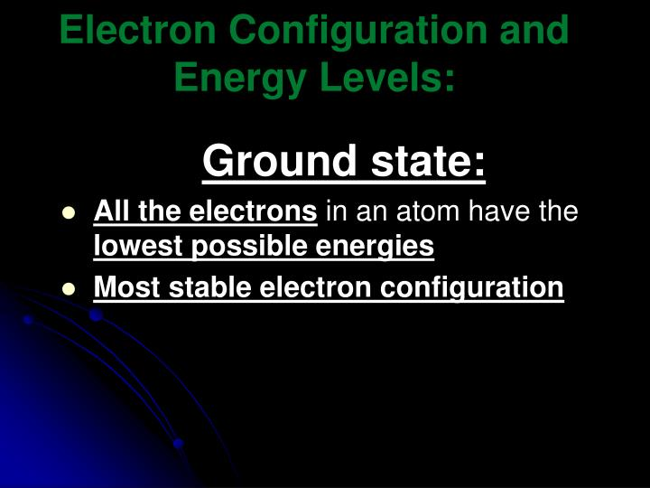 electron configuration and energy levels n.