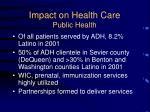 impact on health care public health