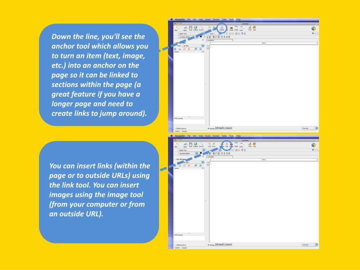 Down the line, you'll see the anchor tool which allows you to turn an item (text, image, etc.) into ...
