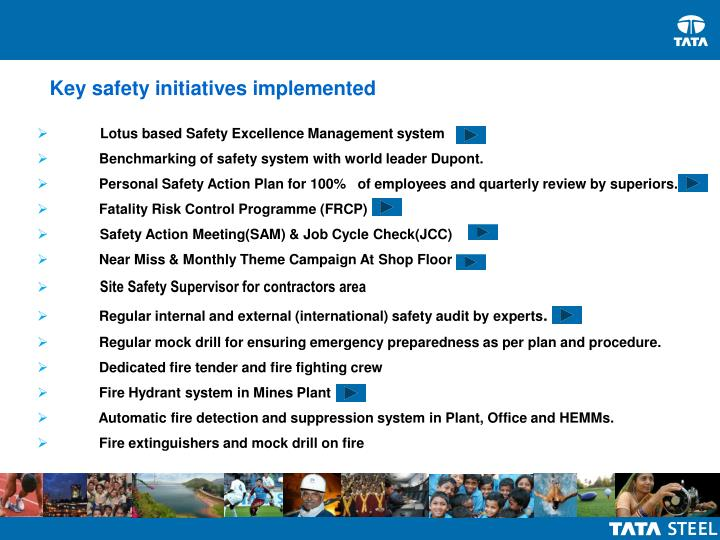 Key safety initiatives implemented