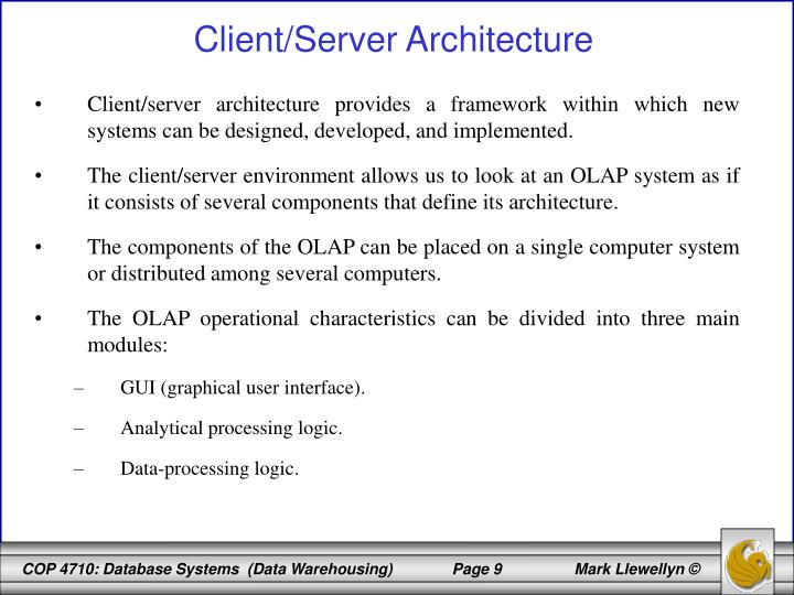Client/server architecture provides a framework within which new systems can be designed, developed, and implemented.