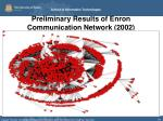 preliminary results of enron communication network 2002