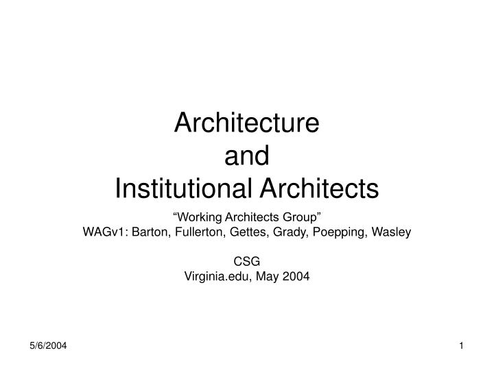 architecture and institutional architects n.