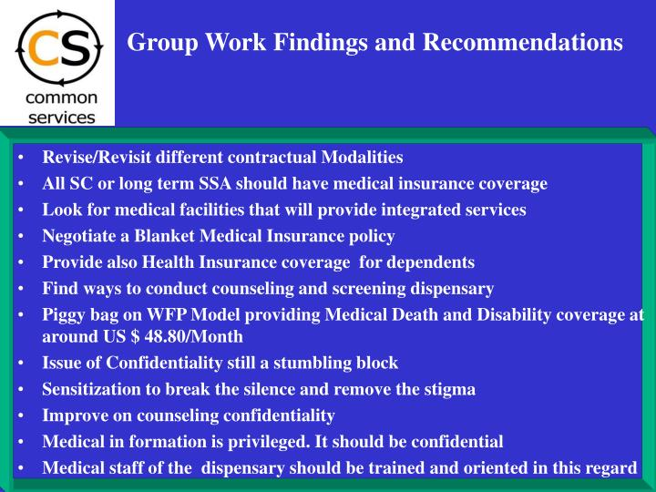 Group Work Findings and Recommendations