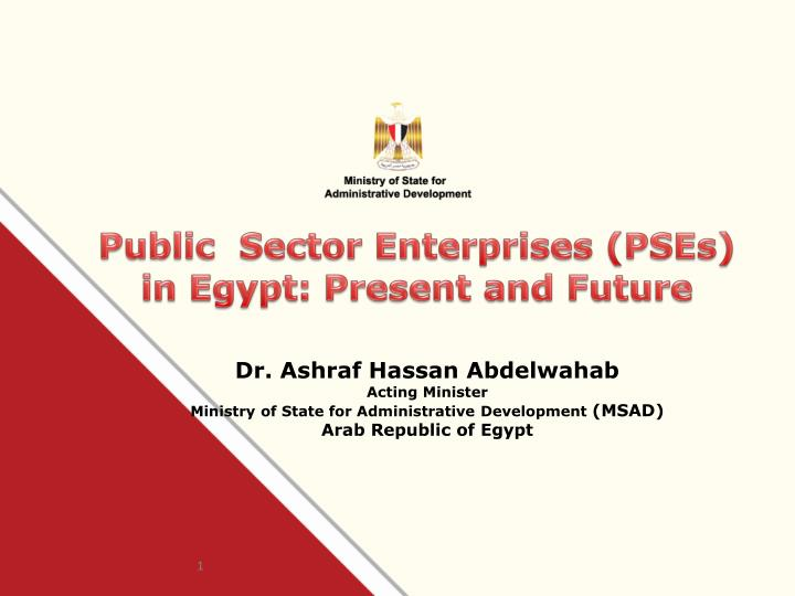 public sector enterprises pses in egypt present and future n.