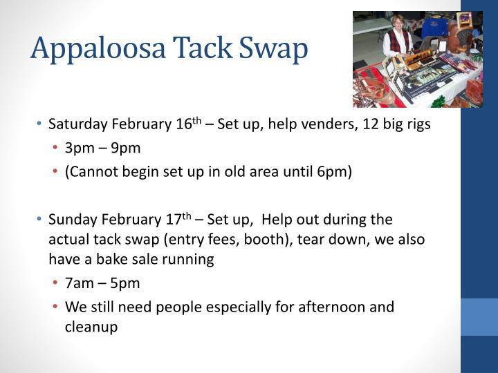 Appaloosa tack swap