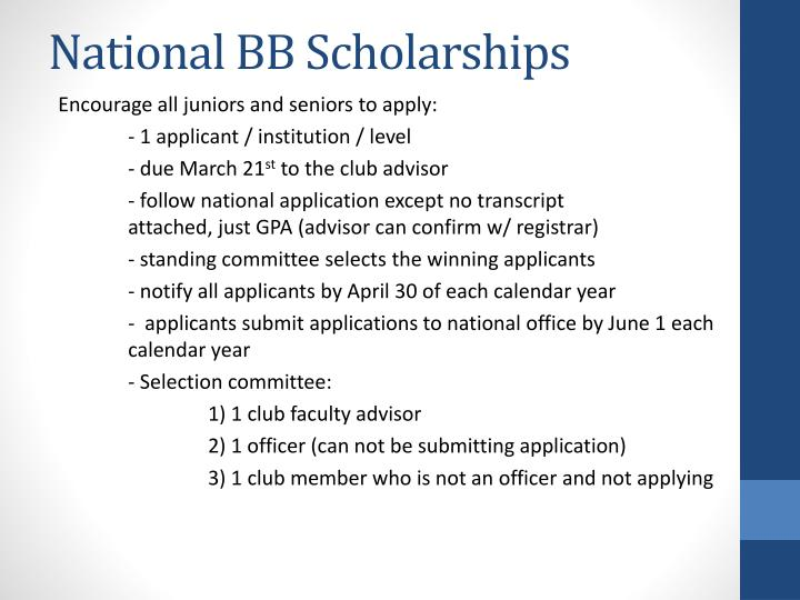 National BB Scholarships