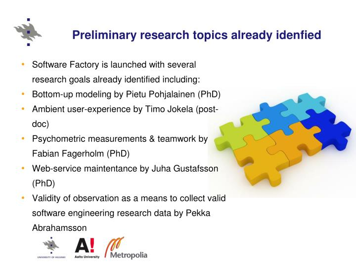 Preliminary research topics already idenfied
